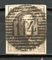 BE   10a   Obl   ---   Nuance Brun Foncé  --  4 Marges  --  18 Barres  --   P  114  Termonde - 1858-1862 Medallions (9/12)