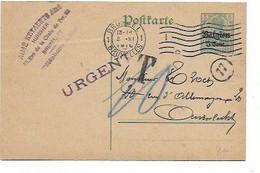 "SH 1020. EP Oc 6 Cach. Mécanique BRUSSEL 1 - 2.XI.1916 - ""URGENT"" - V. Anderlecht. TAXE ""10"". TB - Army: German"