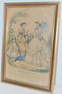 CADRE ANCIEN AVEC CHROMO MAGASIN DES DEMOISELLES Fin XIXe 1865 Modiste Déco Collection Vitrine - Litografía