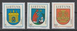 SERIE NEUVE DE LITUANIE - ARMOIRIES DE VILLES N° Y&T 456 A 458 - Stamps