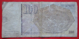 X1- 100 Denari 1996. Macedonia-One Hundred Denari, Wooden Ceiling In Debar/Dibra Town House, Skopje, Circulated Banknote - Macedonia