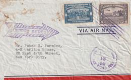Honduras Lettre Avion SAN PEDRO SULa 13/5/1941via Tegucigalpa Pour New York USA - Honduras