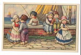CARD BERTIGLIA  DUE COPPIE DI OLANDESINE UNA DONNINA RIMANE SOLA  -FP-N-2-0882-30122 - Bertiglia, A.