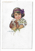CARD BERTIGLIA  BIMBA CON CANE RETRO DOPPIA STAMPA SBAGLIATA   -FP-N-2-0882-30127 - Bertiglia, A.