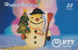 USA - Snowman With Christmas Tree, Happy Holidays, NTT Prepaid Card 25 Units, Tirage 1000, Mint - Unclassified