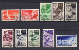 1935. RUSSIA, SOVIET, USSR, AIRMAIL, CHELUSKIN, SET OF 10 STAMPS, 8 USED, 40 AND 50 KOP MNH - Used Stamps