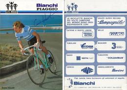 CARTE CYCLISME ENNIO VANOTTI SIGNEE TEAM BIANCHI - PIAGGIO 1984 ( VOIR PARTIE ARRIERE ) - Cycling