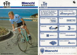 CARTE CYCLISME ALF SEGERSALL SIGNEE TEAM BIANCHI - PIAGGIO 1984 ( VOIR PARTIE ARRIERE ) - Cycling