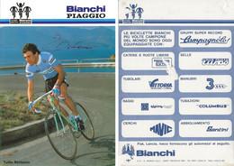 CARTE CYCLISME TULLIO BERTACCO SIGNEE TEAM BIANCHI - PIAGGIO 1984 ( VOIR PARTIE ARRIERE ) - Cycling