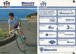 CARTE CYCLISME MAURIZIO VIOTTO SIGNEE TEAM BIANCHI - PIAGGIO 1984 ( VOIR PARTIE ARRIERE ) - Cycling