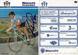 CARTE CYCLISME VALERIO PIVA SIGNEE TEAM BIANCHI - PIAGGIO 1984 ( VOIR PARTIE ARRIERE ) - Cycling