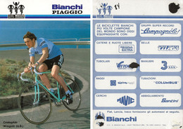 CARTE CYCLISME CHRISTOPHER WREGHITT TEAM BIANCHI - PIAGGIO 1984 ( VOIR PARTIE ARRIERE ) - Cycling
