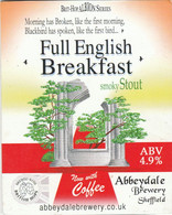 ABBEYDALE BREWERY   (SHEFFIELD, ENGLAND) - FULL ENGLISH BREAKFAST - PUMP CLIP FRONT - Signs
