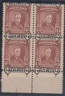Costa Rica 1953 Roosevelt Mi#484 Mint Never Hinged Piece Of 4, Moved Overprint - Costa Rica