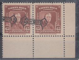 Costa Rica 1953 Roosevelt Mi#484 Mint Never Hinged With Rare Overprint Error Pair - Costa Rica