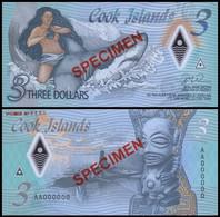 Cook Islands 3 Dollars, (2021), Polymer, Specimen,UNC - Cook Islands