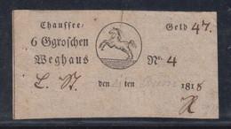 Braunschweig 1818 Postschein Fahrschein Pferd Horse Chaussee Weghaus Nr 4 6 Groschen - Brunswick