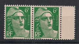 France - 1951 - N°Yv. 884f + 884 - Gandon 6f Vert - Mèches Reliées Retouchées T.a.n. - Neuf Luxe ** / MNH / Postfrisch - Curiosities: 1950-59 Mint/hinged