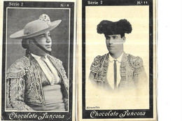CHROMOS    CORRIDAS    TOREADOR SERIE 2 //  N 8 AGUJETAS  // N 11 ALVARADITO   CHOCOLATE JUNCOSA  10.5 X 6.5 CMS - Andere