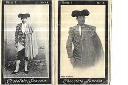 CHROMOS    CORRIDAS    TOREADOR SERIE 2 //  N 15 LAGARTIJO   // N 16 FELIX VELASCO  CHOCOLATE JUNCOSA  10.5 X 6.5 CMS - Andere