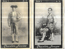 CHROMOS    CORRIDAS    TOREADOR SERIE 2 //  N 17 PARRAO       // N 18 ROLO  CHOCOLATE JUNCOSA  10.5 X 6.5 CMS - Andere