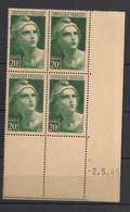 France - 1945 - N°Yv. 730 - Gandon 20f Vert - Bloc De 4 Coin Daté - Neuf Luxe ** / MNH / Postfrisch - 1940-1949