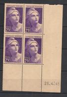 France - 1945 - N°Yv. 731 - Gandon 25f Violet - Bloc De 4 Coin Daté - Neuf Luxe ** / MNH / Postfrisch - 1940-1949