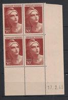 France - 1945 - N°Yv. 732 - Gandon 50f Brun - Bloc De 4 Coin Daté - Neuf Luxe ** / MNH / Postfrisch - 1940-1949