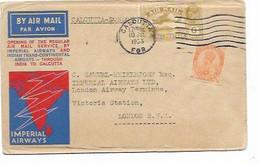 LE 1530. N° Yv.  116- PA 4 CALCUTTA 10 JUL 33 S/L. IMPERIAL AIRWAYS Vol CALCUTTA-LONDON. Dos Calcutta-Karachi. TB - 1911-35 King George V