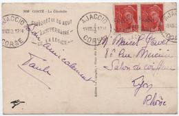 """CORSE Flamme """"Célébrez Le 30 Août L' Anniversaire De La Légion"""" AJACCIO 1942 Carte Postale Timbres MERCURE > Lyon - Oblitérations Mécaniques (flammes)"""
