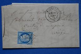 #6 FRANCE BELLE LETTRE 1853  MAZERES POUR MIREPOIX   + N 60    + AFFRANCHISSEMENT . INTERESSANT - 1871-1875 Ceres