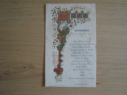 MENU DU DEJEUNER 26 NOVEMBRE 1901 P. MALINET VITRY - Menus