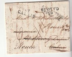 "Lettre Liverpool Pour Calais/Rouen Avec Marques ""Angleterre Par Calais"" / ""61 Calais"", Taxe Recalculée, 1823 - 1801-1848: Vorläufer XIX"
