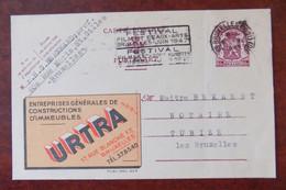 """EP Belgique Publibel 655 """" Ent. Construction Urtra """" - Bruxelles 1947 - Flamme """" Festival Beaux-Arts """" - Publibels"""