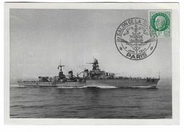 33 SM - SALON DE LA MARINE 1944 - CROISEUR LA GALISSONNNIERE  - Cachet à Date 3 Juin 1944 - Posta Marittima