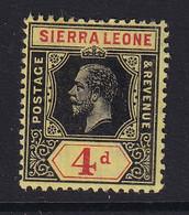 Sierra Leone: 1912/21   KGV     SG117a     4d  [on Lemon]  [Die I] ]   MH - Sierra Leona (...-1960)