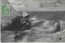 Le Baiser De La Sirène, Nue, Style Bergeret, Timbre Cochinchine, 1906, 2 Scans - Femmes