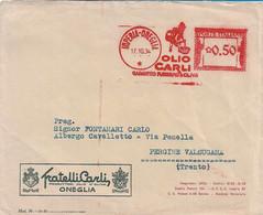 REGNO - BUSTA PUBBLICITARIA OLIO CARLI CON AFFRANCATURA MECCANICA ROSSA A TARGHETTA 50c. PER PERGINE 17.10.1934 - S0 - Marcofilie - EMA (Print Machine)