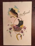"""CPA, Illustration, Poisson, Panier,chat """"1er Avril"""", éd M.G.A N° 706, écrite - 1° Aprile (pesce Di Aprile)"""