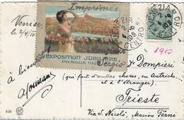 EXPOSITION JUBILAIRE PRAGUE 1908 Erinnofilo Sluitzegel Timbres-Vignettes Picture Stamp VIAGGIATA DA VENEZIA 1910 - Erinnofilia