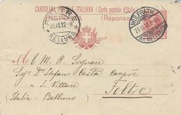 REGNO - INTERO POSTALE ITALIANO SPEDITO DA WULFRATH ( GERMANIA ) PER FELTRE 23.11.1912 -  M93 - Postwaardestukken