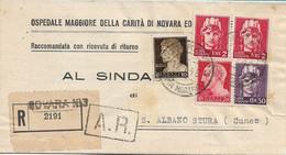 REPUBBLICA DA NOVARA A S. ALBANO STURA CON VALORI LUOGOTENENZA IMPERIALE SENZA FASCI 12.10.1946 - M135 - 1946-60: Marcofilie