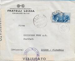 BUSTA  PUBBLICITARIA F.LLI LOZZA CALALZO DI CADORE PER LA SVIZZERA CON L.1,25 FRATELLANZA D'ARMI ITALO TEDESCA 1941 - Storia Postale