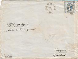 REGNO - LITOGRAFICO 15c DA CANDELA (punti 6)  A BERGAMO 30.10.1863 - AL VERSO VARI BOLLI DI TRANSITO - B2 - Marcofilie