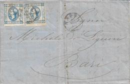 REGNO - COPPIA  LITOGRAFICO 15c DA NAPOLI A BARI 10.11.1863 CON TESTO INTERNO -  B3 - Marcofilie