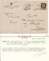 RSI - 30c  SOPRASTAMPA FASCIO IN ROSSO ARANCIO (SASS. N. 492am) SU CARTOLINA 08.08.1944 - CERTIFICATO RAYBAUDI - Marcofilie