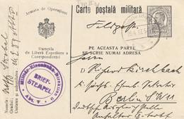 Roumanie Cachet Feldpost Sur Entier Postal Pour L'Allemagne 1917 - Postwaardestukken