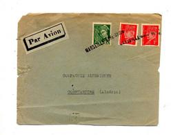 Devant De Lettre  Cachet Annulation Marseille Gare Avion Sur Petain Mercure Déchirure - Manual Postmarks