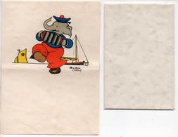 Lot De 2 Papier à Lettre Illustrés (avec Enveloppes) Par Béatrice MALLET - Eléphant Musicien Et Ourson Allant Se Coucher - Mallet, B.
