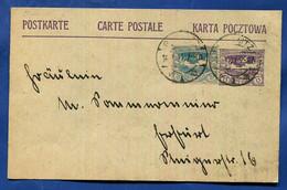 OBERSCHLESIEN  Ganzsache MiNr. P 4  Auffrankiert Mit Nr. 18  Gleiwitz Nach  Erfurt  14.3.1921  Familienkorrespondenz - Sectores De Coordinación